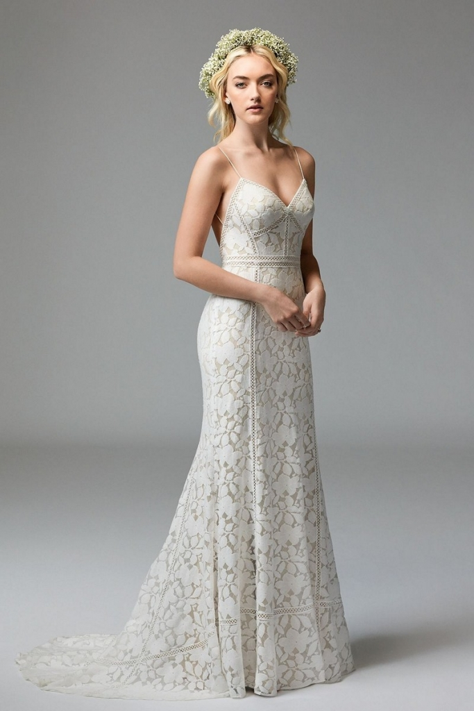 """TREND: Boho lace GOWN: Willowby's """"Vivienne,"""" available in Charleston through Bridals by Jodi, Fabulous Frocks, Jean's Bridal, and Lovely Bride"""