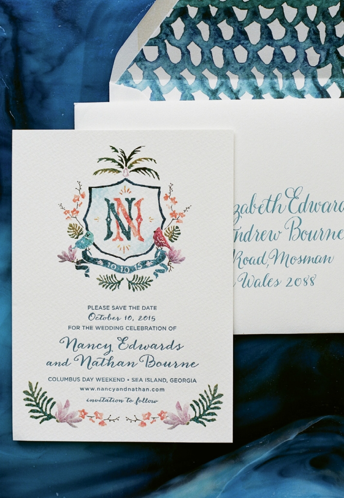 Holy City luxury stationers at Lettered Olive turned the watercolor herald made for this couple into wedding invitations.