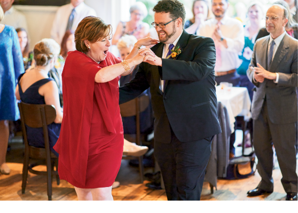 Dottie and her son, Liam, cut a rug at his wedding reception, held at LaFarfelle downtown. Image by Nicolas Gore Weddings.