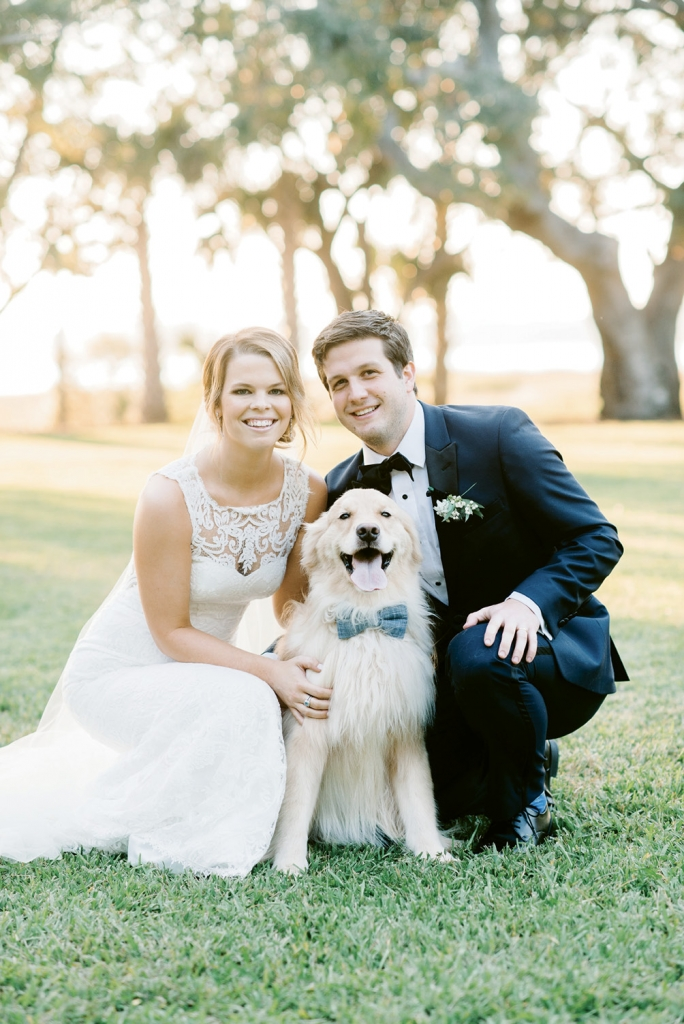 """""""He smiles for cameras all of the time—it's pretty bizarre,"""" says Mallory of her and Kristian's four-year-old golden retriever, Leo. Although the dapper dog couldn't be in the actual ceremony, the couple couldn't resist having their """"dog of honor"""" pose with them for a few photos after their """"I do's."""""""