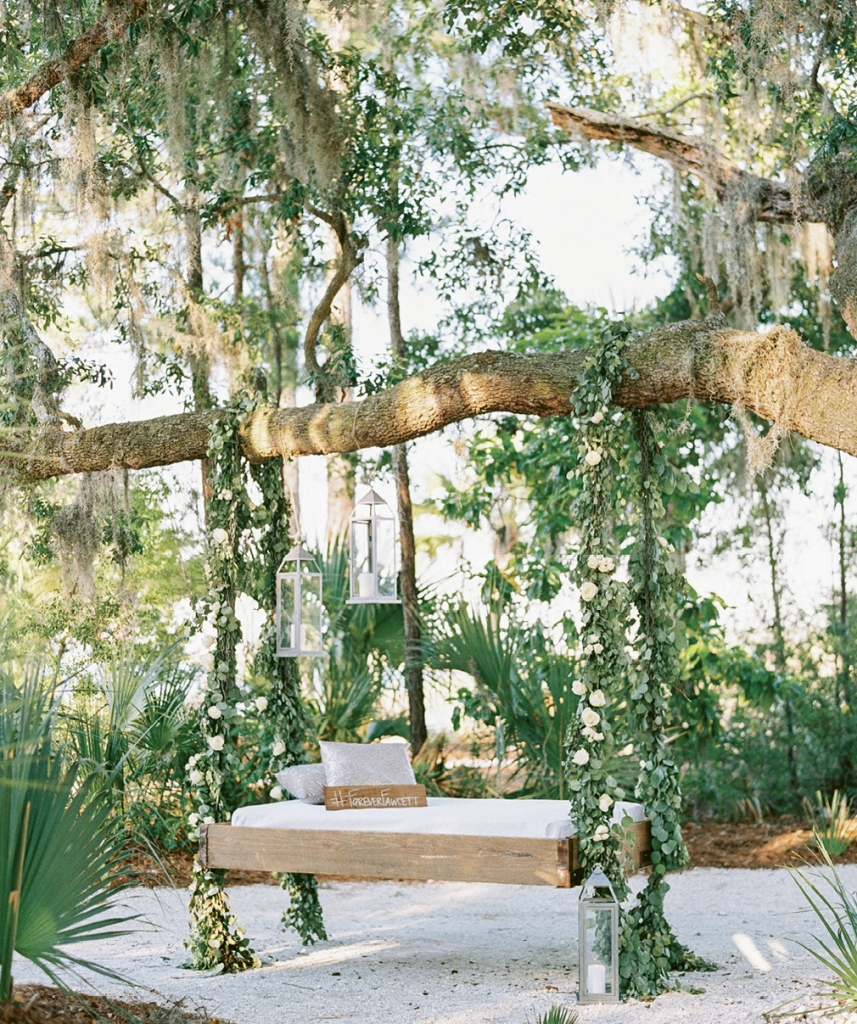 """""""Special touches like this swing gave the entire venue a magical ambiance,"""" says Maddy. """"When it came to life, my mother-in-law's vision was more amazing than I could have ever imagined."""""""