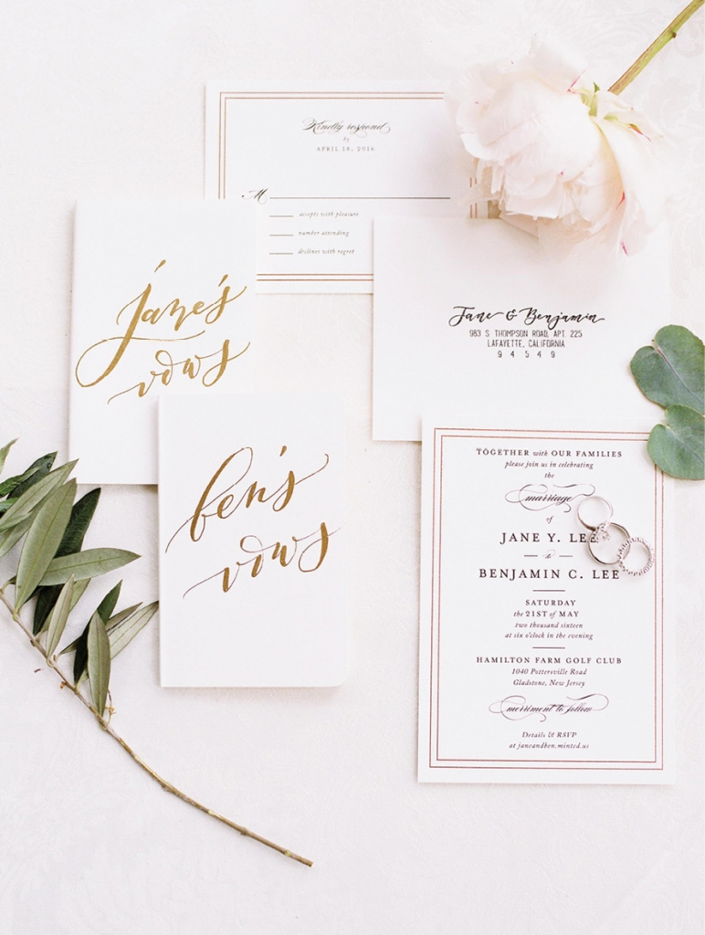 Trend: Neutral Hues //  Invitations: Minted // Vow Books: Seniman Calligraphy  // Image: Jeremy Chou Photography
