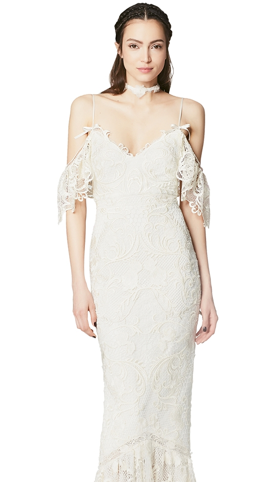 "Bare Shoulders - Gown: ""Beverly"" by Marchesa Notte  Boutique: Lovely Bride"