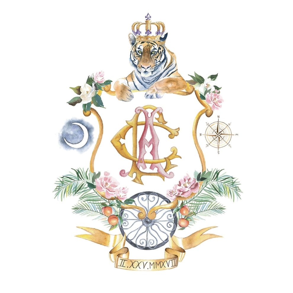 The Leveque family crest (by Lemon Tree Calligraphy & Illustration) kicked off Christian and Allison's Charleston wedding and now hangs in their L.A. home.