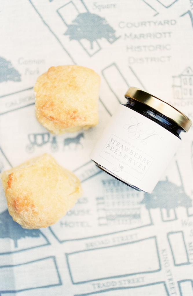 Welcome gifts for guests included Callie's Hot Little Biscuits and jam from Ambrose Family Farms.