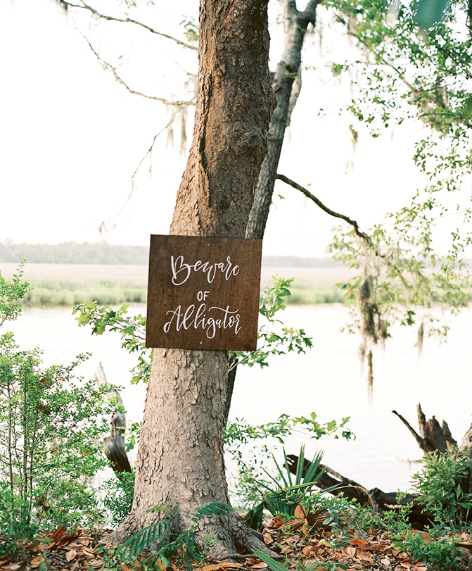 """This warning sign—""""Beware of Alligator""""—was a relic of a past celebration and has since become a staple on the property."""